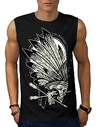 Wellcoda ネイティブ インディアン 呪い 男性用 S-5XL 袖なしTシャツ