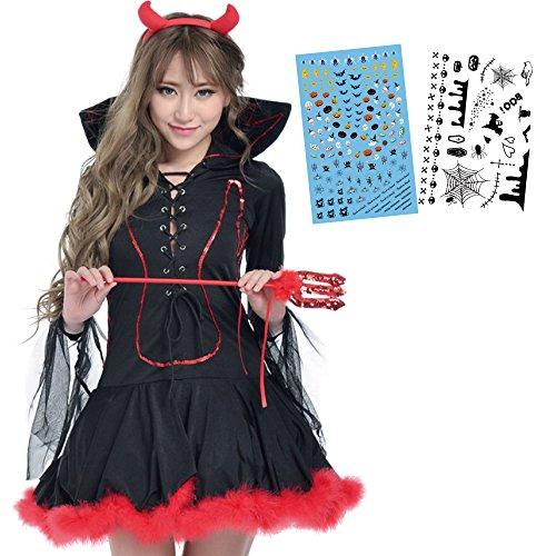 Eiza 魔女 コスプレ ハロウィン 衣装 角 ステッキ タトゥー ネイル シール 2枚 e421 (M)