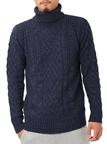 JIGGYS SHOP (ジギーズショップ) ニット セーター メンズ タートルネック ケーブル編み 厚手 長袖 防寒 ボーダー アメカジ L C ミックスネイビー