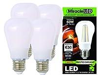 MiracleLED装飾ゴージャスなunedisonライト–Xtra明るい360度Radiance–7W交換60W電球 4 Pack ホワイト 604100 1