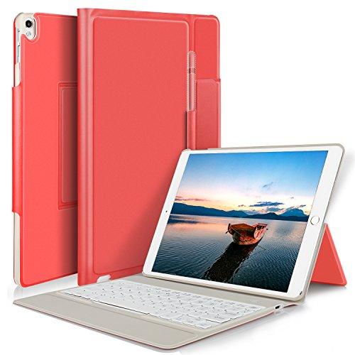 Apple ipad 9.7 2018 ケース YOCCO iPad 9.7 第6世代 2018カバー apple pencil 収納ホルダー付き キーボードケース一体型 高級PUレザー スタンド付き オートスリープ ipad 9.7インチ 専用 Bluetoothキーボードフォリオケース New iPad 9.7 2018 ケース シンプル 軽量薄型 iPad 9.7 2018 保護ケース レッド
