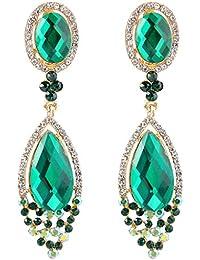 Clearine Women's Wedding Bridal Infinity Figure 8 Crystal Teardrop Chandelier Dangle Clip-On Earrings