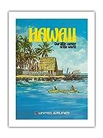 ハワイ - ユナイテッド航空 - City of Refuge, ホナウナウ湾 - ビンテージな航空会社のポスター によって作成された ミカエル・ヘーゲル c.1970s -プレミアム290gsmジークレーアートプリント - 46cm x 61cm