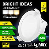 LUMEY 20 Pack LED Downlight Kit, CCT Changeable Daylight Warm White Amber Ceiling Bulb for Indoor Outdoor