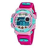 OHSEN 腕時計 こども用 女の子 デジタル時計 スポーツウォッチ アラーム付き 小学生 受験 日常防水 ローズ