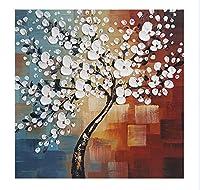 欣雅芸術-現代の抽象的な白い金儲けの花の手描きの油絵、100%手描きの油絵、客間の寝室、家庭の事務室の装飾、壁の装飾はキャンバスの壁面の芸術を使います。 (80x80cm)