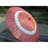 蛇の目傘 花輪 赤
