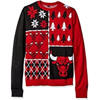 KLEW NBA Chicago Bulls Busy Block Ugly Sweater, Red, Medium