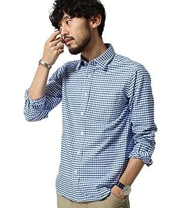 ナノ・ユニバース(nano・universe) Oxfordチェックシャツ LS XL ブルー the.first.floor.