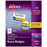 Flexible Self-Adhesive Laser/Inkjet Name Badge Labels, 2-1/3 x 3-3/8, WE, 400/Bx (並行輸入品)