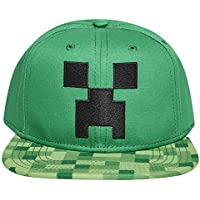 Boys Minecraft Creeper Face Hat - Black and Green Premium Minecraft Creeper Face Youth Snap Back Hat