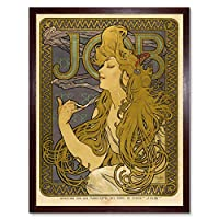Mucha Job Cigarette Papers Nouveau Advert Art Print Framed Poster Wall Decor 12x16 inch ヌーボー広告ポスター壁デコ