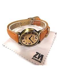 ZooooM シンプル デザイン ウォッチ フェイク 文字盤 アナログ 腕 時計 ファッション アクセサリー ユニーク カジュアル レディース 女性 メンズ 男性 ユニセックス (ブラウン) ZM-TISITI-BR
