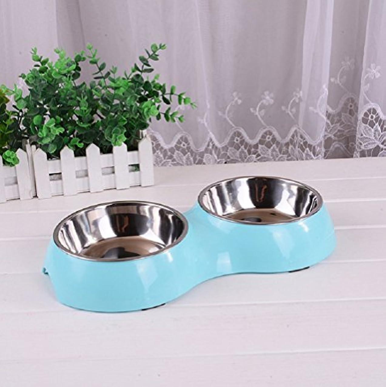 見る人予感安全性Beho ペット用品 ペットボウル 食器 皿 犬猫用 ステンレス製 滑り止め 給餌容器 給水容器全3色選ぶ - ブルー