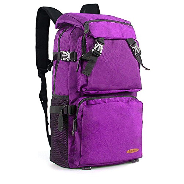 ガラス国民投票エトナ山ALUP- トラベルバックパック大容量の男性と女性の潮のキャンバスのバックパック防水アウトドア登山バッグコンピュータバッグ紫