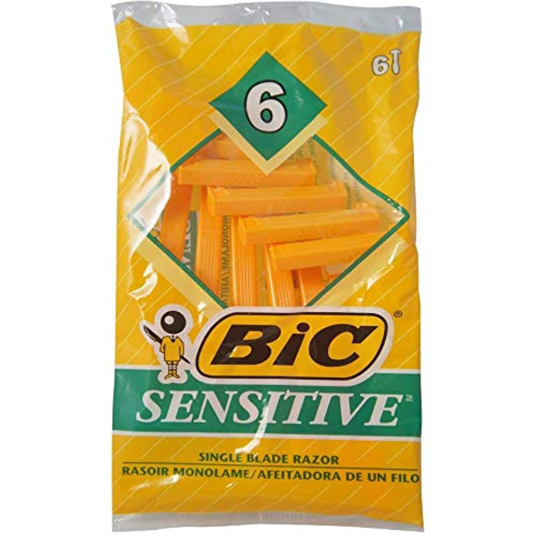 BIC DISP Sensの6Ctサイズ6Ct敏感使い捨てシェーバー6Ct 2パック