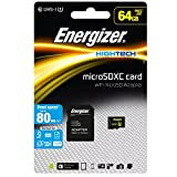Energizer エナジャイザー microSDXCカード UHS-1 ハイテク 読込:80MB/s (64GB) カード SD変換アダプター付き