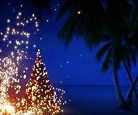 10x 8ftアートクリスマス夜写真バックドロップPalm Trees and Stars Blue Sky RomanticビーチXmas背景for Photo Studio
