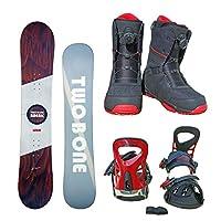 TWO B ONE メンズ スノーボード3点セット ホワイト151+bi17レッド+bo18ブラック255