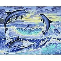 LoveTheFamily 数字油絵 数字キット塗り絵 手塗り DIY絵 デジタル油絵 40 x 50 cm ホーム オフィス装飾 -動物の新しい