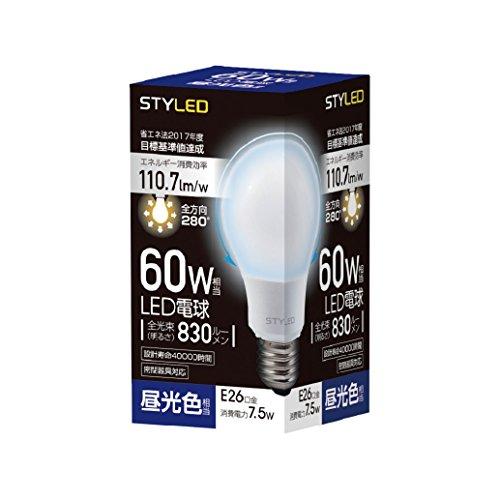 LED電球 口金直径26mm 60W形相当 830ルーメン 昼光色 全方向 全配光タイプ 密閉器具対応 SDA60TD1