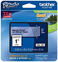 Genuine Brother 1 (24mm) Black on Clear TZe P-touch Tape for Brother PT-2410 PT2410 Label Maker [並行輸入品]