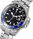 Fanmis GMTマスター サファイアガラス ブルーとブラックのセラミックベゼル メンズオートマチック腕時計