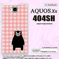 くまモン 404SH スマホケース AQUOS Xx 404SH カバー アクオス ダブルエックス チェックピンク nk-404sh-km18