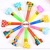 Musical Blow Outs Party Horns Noisemakers Blowouts Whistles for Birthdays New Year and other Celebrations Party 50 PCS [並行輸入品]