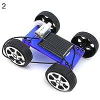 goupgolboll-ミニDIYアセンブリソーラーパネルエネルギーカー車両モデルキッズ教育玩具 - ブルー