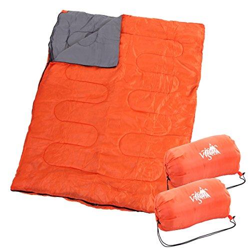 WhiteSeek ツーパーソン 寝袋 シュラフ 封筒型 【最低使用温度0℃】 (オレンジ)
