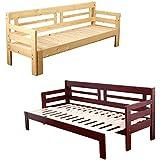 【地球家具】天然木すのこソファベッド【彩】本体 ナチュラル[スライド 伸縮式 ソファーベッド]シングルベッド