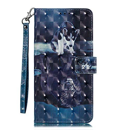 OMATENTI iPhone 6 / iPhone 6s ケース, トレンディでクール 人気 新製品 薄型 PU レザー 財布型 ケース, 3Dカラーパターン おしゃれ 手帳カバー き スタンド機能 マグネット開閉式 カード収納付 iPhone 6 / iPhone 6s 用 Case Cover, 犬とライオン