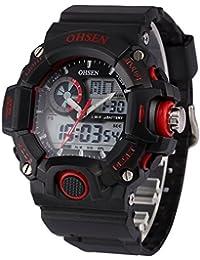 5 色 メンズ ダイバーズ LED ライト 多機能 腕 時計 デジアナ 防水 ストップウォッチ アラーム 耐衝撃 スポーツ アウトドア ウォッチ (レッド)