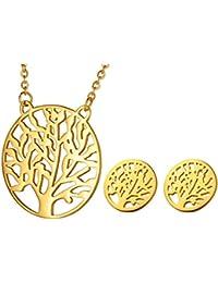 HOUSWEETY ファションアクセサリー 簡約欧米風 生命の樹 レディース ペンダント 首輪 ネックレス ピアス イヤリング セット 色:ゴールド -1セット