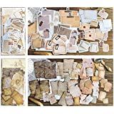 DESEACO 90 PCS Vintage Scrapbook Paper Stickers in Aged Paper Antique Looking and Classic Old Fashion Parchment Paper Looking