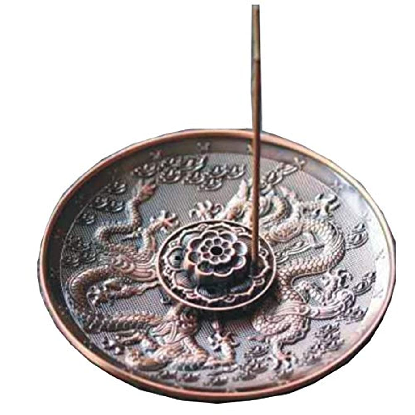 フロー大きい対話[RADISSY] お香立て 香炉 香皿 スティック 円錐 タイプ お香 スタンド 龍のデザイン (赤胴色9穴)