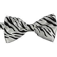 Bullidea 1pc Mens Pure Plain Bowtie Zebra Print Pre-Tied Bow Tie Wedding Party Polyester White Black