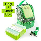 Insulated Kids Lunch Bag, with Shoulder Strap and Backpack Harness + Silicone Lunch Box. (Green)
