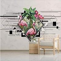 Xueshao 北欧壁紙シンプルな人格幾何フラミンゴテレビ背景壁専門製造壁画写真壁紙-350X250Cm