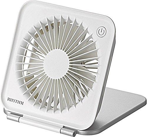 卓上扇風機 USB電源 静音 シルバー リズム時計 9ZF022RH19