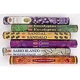 Hemお香6ピースパック–ラベンダー、ユーカリ、サンダル、Opium、ホワイトセージ、Dragon Blood