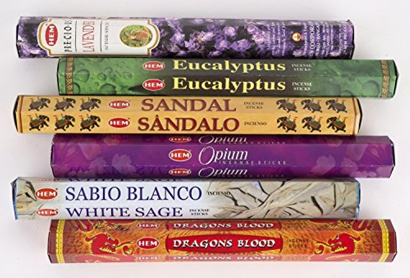 補償知的才能のあるHemお香6ピースパック – ラベンダー、ユーカリ、サンダル、Opium、ホワイトセージ、Dragon Blood