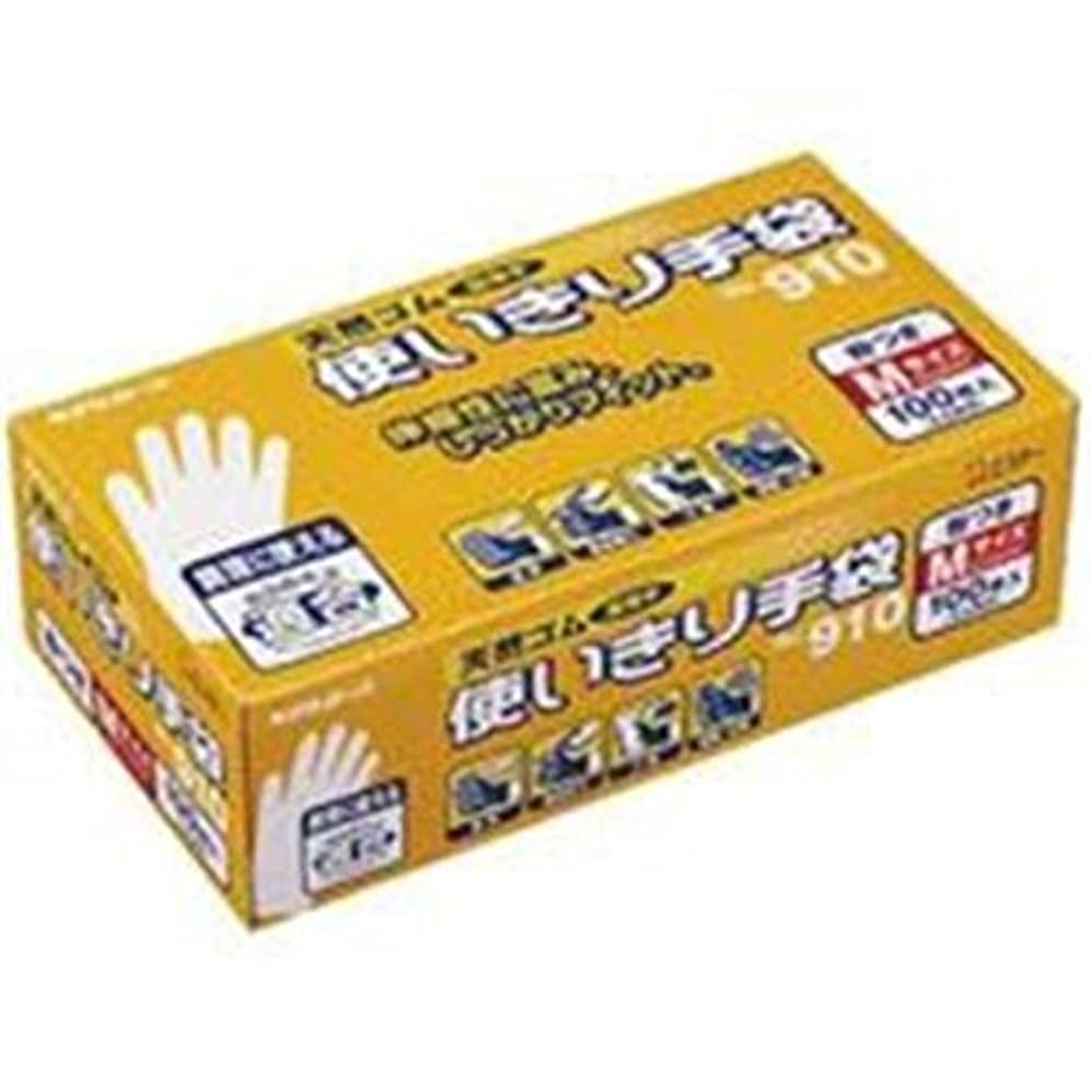 硬い膨らませる旅行エステー 天然ゴム使い切り手袋 No.910 M 12箱