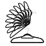IEOKE すべらないハンガー起毛ハンガー 薄型 すっきり収納 クローゼット 10本セット ブラック
