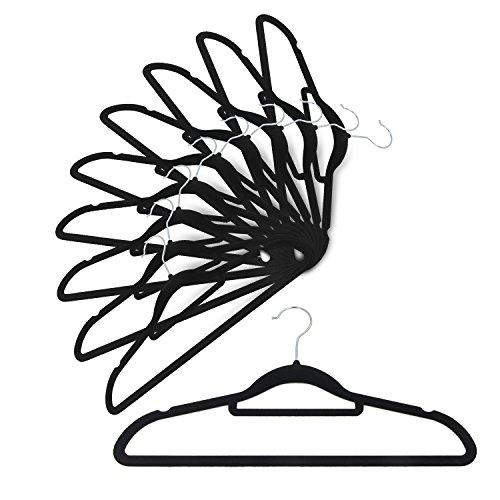 IEOKE すべらないハンガー 起毛ハンガー 薄型 すっきり収納 クローゼット 10本セット ブラック