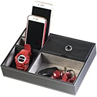 HUJI Black Leatherette Valet Jewelry Tray Display Showcase Insert Liner Organizer 5 Compartments Desk Car Home Dresser Keys Phone Wallet Coins (1 Black Leatherette Jewelry / Valet Tray)