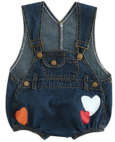 f5f45aa770427 (ラボーグ) La Vogue ベビー服 女の子 デニム サロペットパンツ 子供 キッズ ロンパース オーバーオール 赤ちゃん つなぎ服 ジーンズ  ズボン ハート柄 ダークブルー .
