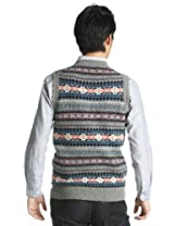 Fair Isle Wool Crewneck Sweater Vest 1218-117-0087: Grey
