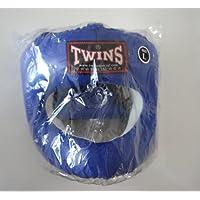 新TWINS ツインズ 本革製 キックボクシング フルフェイス型 ヘッドギア ヘッドガード 青 Lサイズ